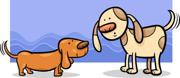 Dogs wagging tails cartoon Stock Photos