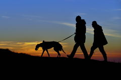 Dogs Walkers at Sunset. Silhouetted View of People Walking a Dog on a Hill against a Sky at Sunset Royalty Free Stock Images