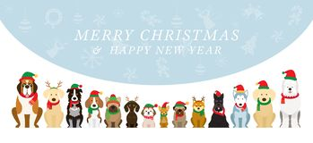 Dogs Wearing Christmas Costume, Background stock illustration