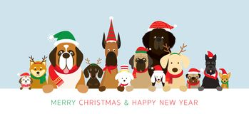 Dogs Wearing Christmas Costume Holding Banner royalty free illustration