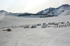 Dogsled camp at the top of the Denver glacier Royalty Free Stock Image