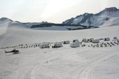 Dogsled Lager an der Oberseite des Denver-Gletschers Lizenzfreies Stockbild