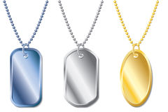 Dogtags. Various colored dogtags with chains Royalty Free Stock Image