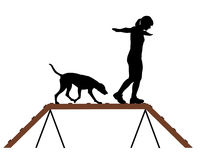 dogwalk psia kobieta royalty ilustracja