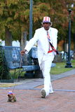 Dogwalker. Artist on the streets of Memphis USA pretending to walk his (fake) dog to entertain the tourists Stock Photo