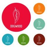 Dogwood leaf icons circle set vector. Isolated on white background Royalty Free Stock Photography