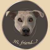 "Dog's portrait. Dog's portrait :""hi, friend"", vector hand drown illustration Stock Photography"
