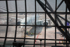 DOHA, ΚΑΤΆΡ - 4 ΑΠΡΙΛΊΟΥ: Αεροσκάφη του Κατάρ Στοκ Εικόνες