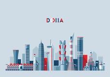 Doha οριζόντων επίπεδο σχέδιο απεικόνισης του Κατάρ διανυσματικό Στοκ φωτογραφία με δικαίωμα ελεύθερης χρήσης