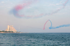 Doha Bay aerobatics Royalty Free Stock Photos
