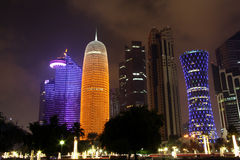 Doha business district at night Stock Image
