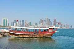 Doha - The capital city of Qatar, a dhow in harbor Royalty Free Stock Images