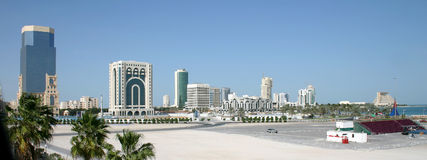 Doha city skyline. A view of the New District of Doha, the capital city of Qatar, taken in April 2004 Stock Photography