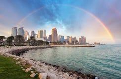 Doha city skyline city with rainbow, Qatar royalty free stock photo
