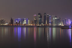 Doha City skyline at night, Qatar Royalty Free Stock Photos