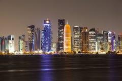 Doha city skyline at night, Qatar Stock Images