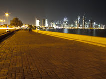 Doha corniche. The alley around corniche in Doha, Qatar at night Royalty Free Stock Photo