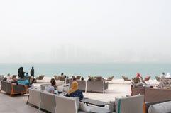 Doha Corniche i sandstorm, Doha, Qatar Arkivfoto