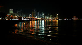 Doha Corniche at night Royalty Free Stock Image