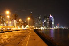 Doha Corniche (Qatar) at night Stock Images