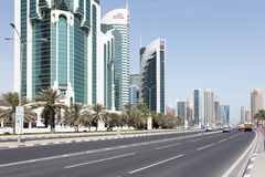 Doha Corniche road and towers Stock Image