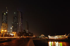 Doha corniche and towers at night Royalty Free Stock Photos