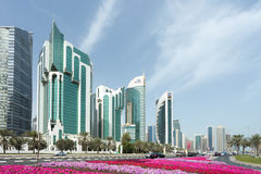 Doha Corniche towers Stock Images