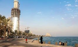 Doha corniche and towers Stock Photo