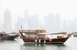 Doha in de mist Royalty-vrije Stock Fotografie