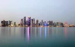 Doha downtown at dusk, Qatar Stock Photography