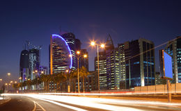 Doha downtown at night Royalty Free Stock Images