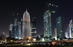 Doha downtown at night, Qatar Stock Image