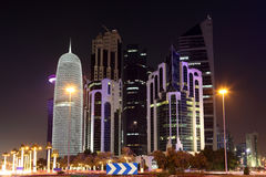 Doha downtown at night. Qatar Royalty Free Stock Photography