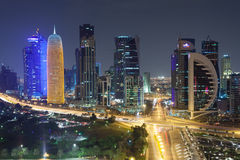 Doha downtown at night Stock Images