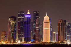 Doha downtown skyline at night Stock Image