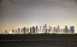 Doha downtown skyline at night Stock Photo