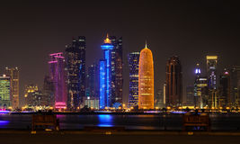 Doha downtown skyline at night. Qatar, Middle East Royalty Free Stock Images
