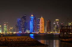 Doha downtown skyline at night. Qatar, Middle East Stock Images