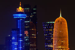 Doha downtown skyline at night. Qatar, Middle East Stock Photo