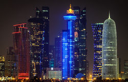 Doha downtown skyline at night. Qatar, Middle East Royalty Free Stock Photo