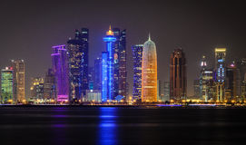 Doha downtown skyline at night. Qatar, Middle East Stock Photography