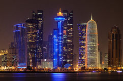 Doha downtown skyline at night. Qatar, Middle East Royalty Free Stock Image