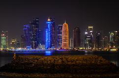 Doha downtown skyline at night. Qatar, Middle East Stock Image
