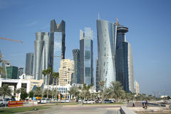 Doha financial and administrative district. Skyscrapers in the financial and administrative district of Doha, the capital city of Qatar Stock Image
