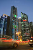 Doha financial district at dusk Royalty Free Stock Photos
