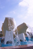 Doha fountains. Water-pot fountains on the Corniche in Doha, Qatar stock photography