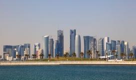 doha i stadens centrum horisont Royaltyfri Fotografi