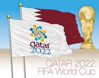 DOHA, KATAR, Grudzień 2022 - Katar i Katar 2022 pucharów świata logo w flaga Zaznaczamy z pucharem świata ilustracji