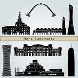 Doha landmarks and monuments. Isolated on blue background in editable vector file Stock Images