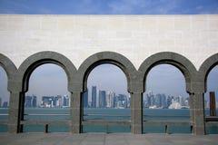Doha linia horyzontu od muzeum Islamska sztuka Obraz Royalty Free
